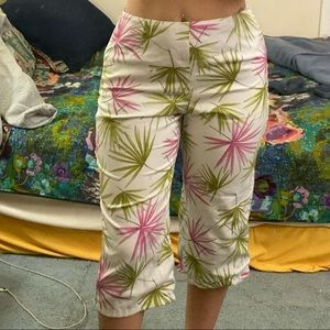 Talbots white capris with pink & green palm leaves
